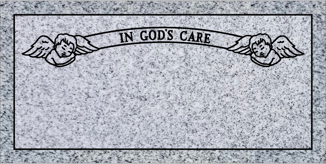 Single flat headstone with angel in God's care design