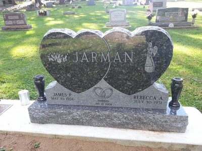Double Heart Memorial Headstone